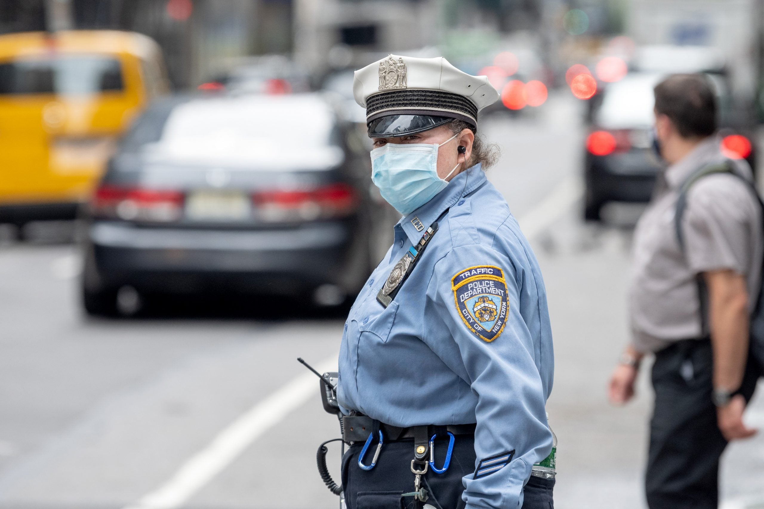 NYPD traffic officer wears mask