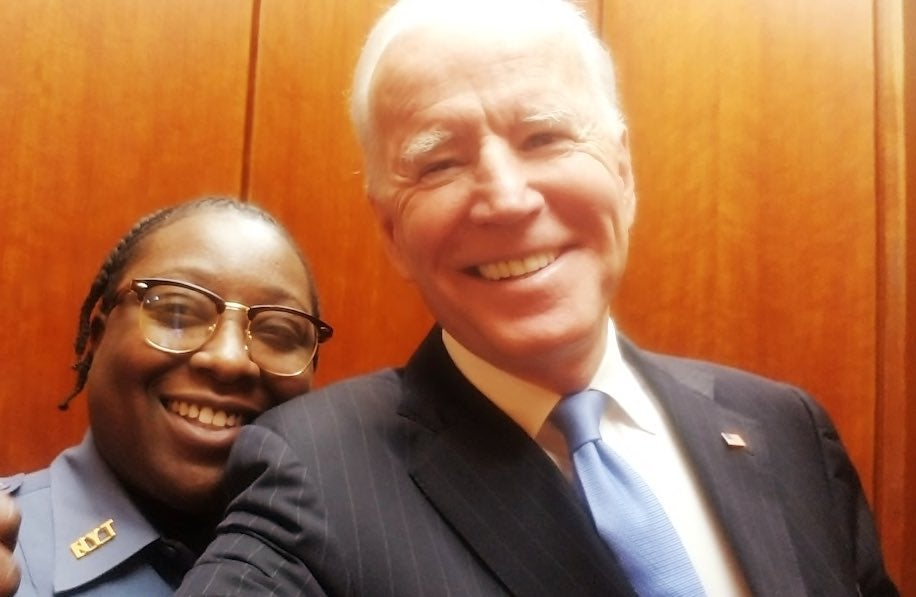 Jacquelyn Brittany poses for a selfie with Joe Biden