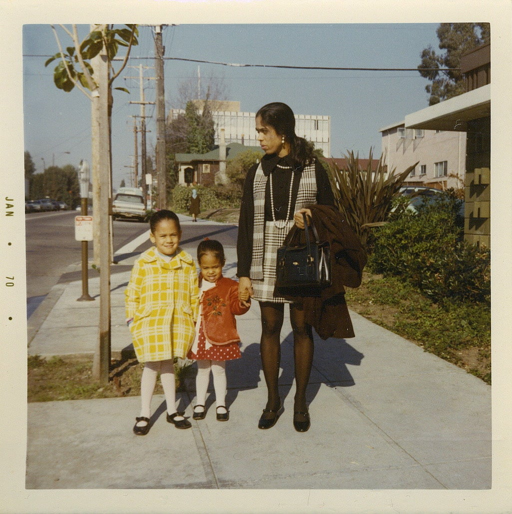 Young Kamala Harris with mother and sister