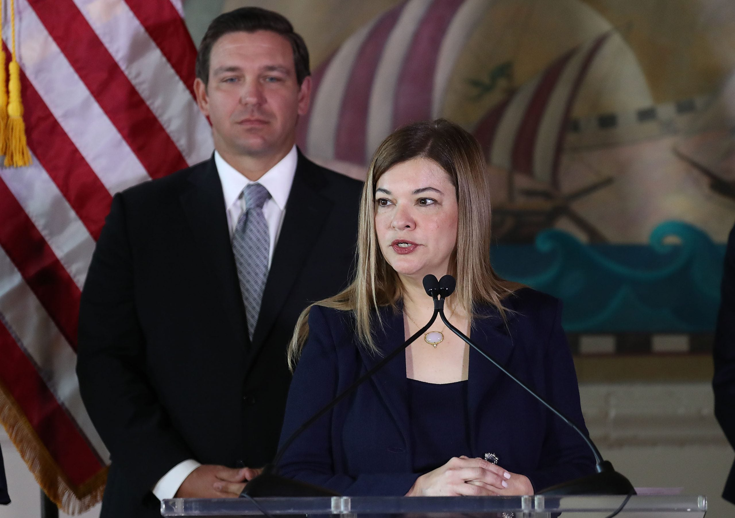 Gov. Ron DeSantis stands behind Barbara Lagoa as she speaks after he named her to the Florida Supreme Court on January 09, 2019 in Miami, Florida.