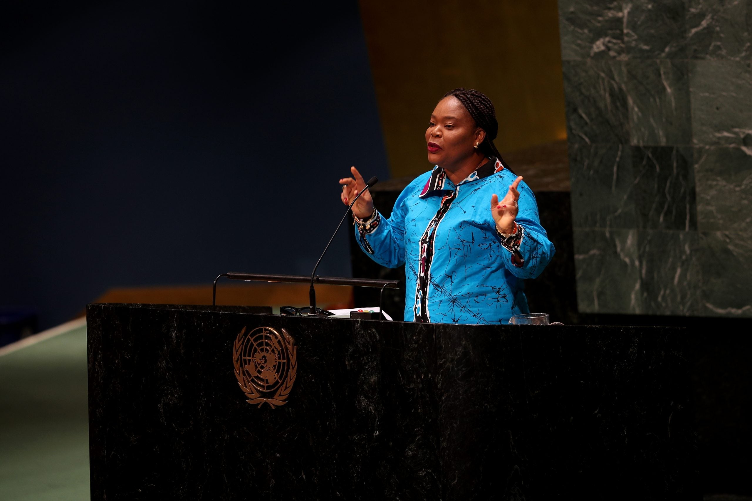 NEW YORK, USA - MARCH 06: Liberian peace activist and 2011 Nobel Peace Prize winner Leymah Gbowee speaks at the United Nations Observance of International Women's Day 2020 on March 6, 2020 at United Nations General Assembly in New York City, United States. (Photo by Tayfun Coskun/Anadolu Agency via Getty Images)