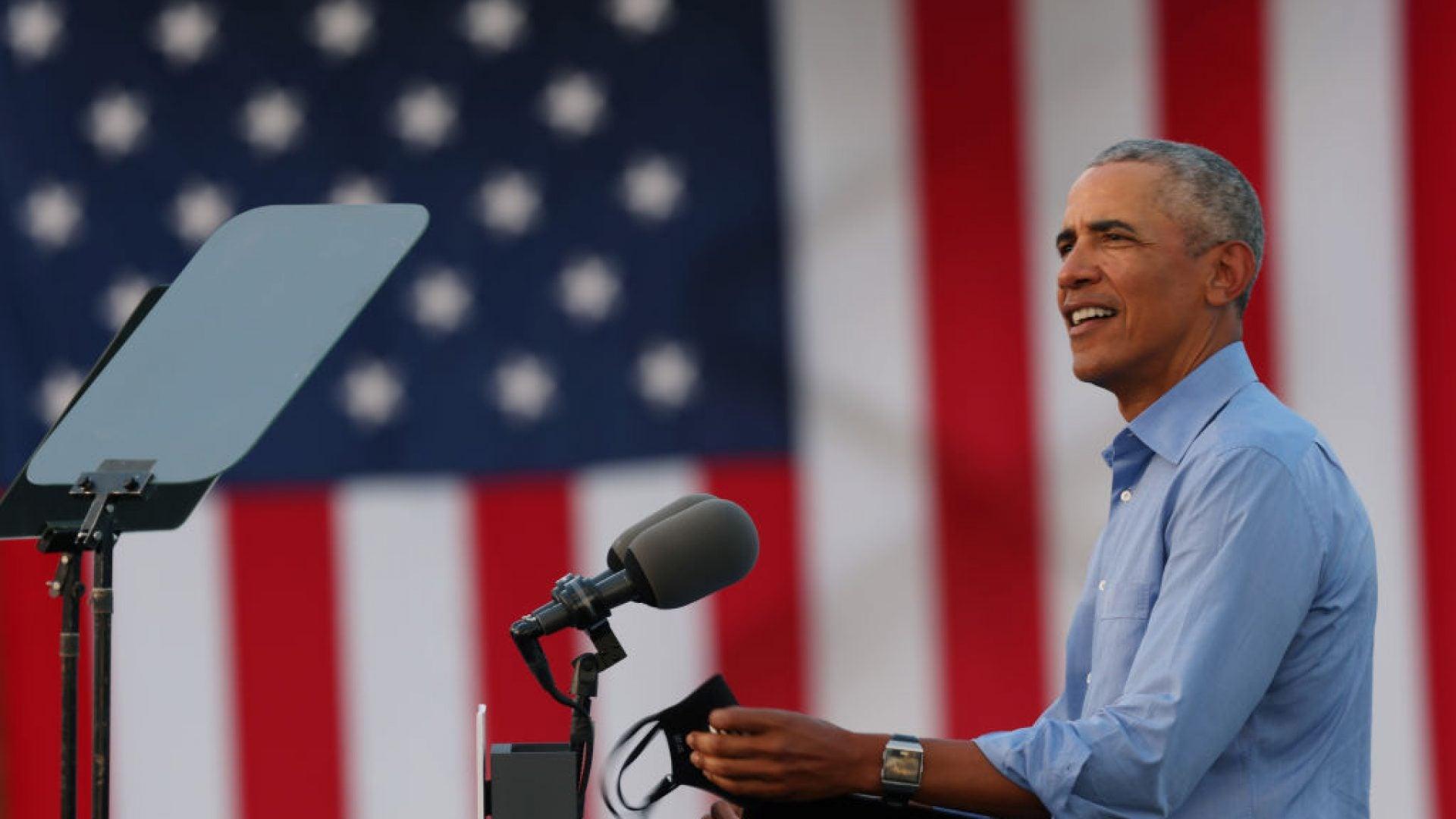 Barack Obama Speaks At Joe Biden Drive-In Rally In Philadelphia