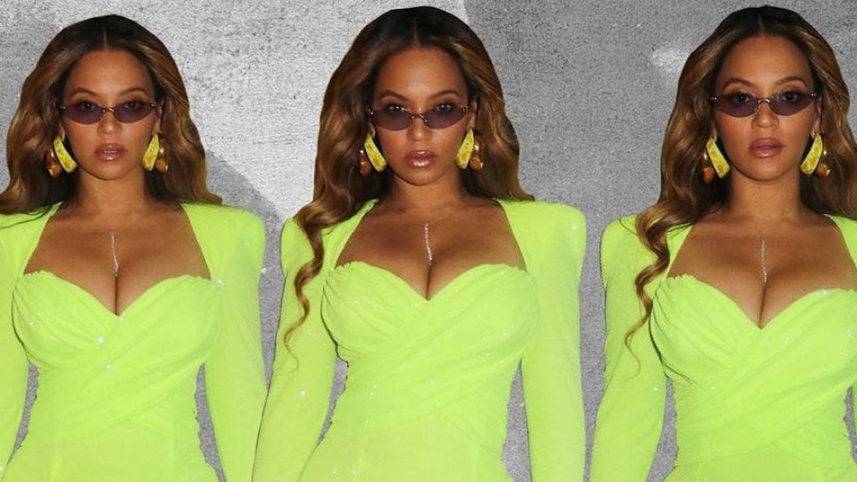 Beyoncé Sizzles In Lime Green Mini Dress To Celebrate Balmain Creative Director Oliver Rousteing