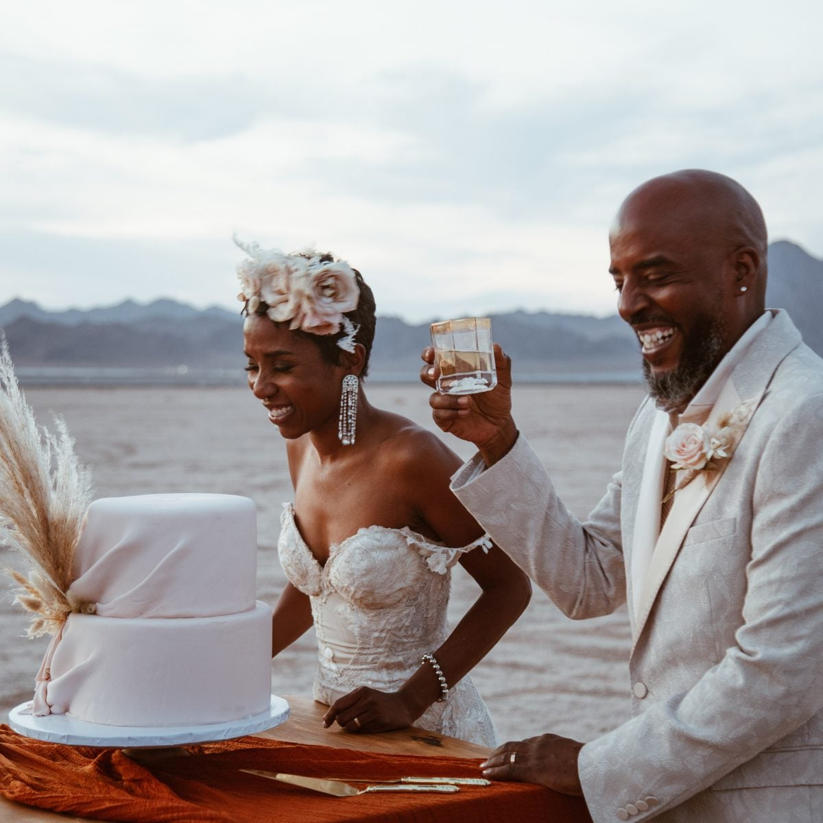 Bridal Bliss: Riqua And Andre's Wedding Included The Vegas Strip, Showgirls, And A Stunning Desert Ceremony